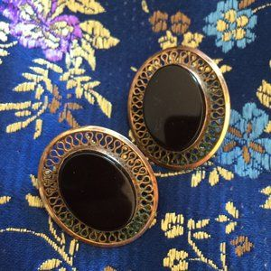 VINTAGE 12K Gold Clip Earrings with Black Stone